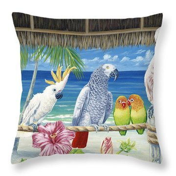 Parrots In Paradise Throw Pillow