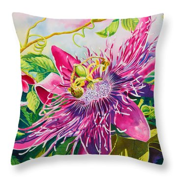Passionflower Party Throw Pillow by Janis Grau
