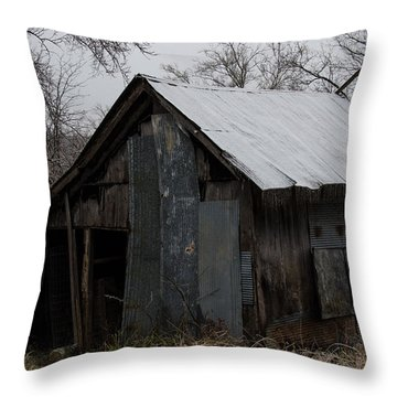 Patchwork Barn With Icicles Throw Pillow