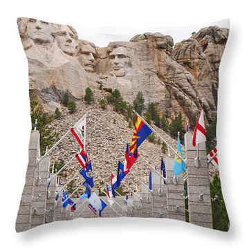 Patriotic Faces Throw Pillow by Mary Carol Story