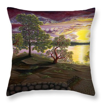 Peaceful Sunset Throw Pillow by Rebecca Parker