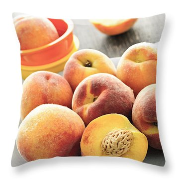 Peaches On Plate Throw Pillow by Elena Elisseeva