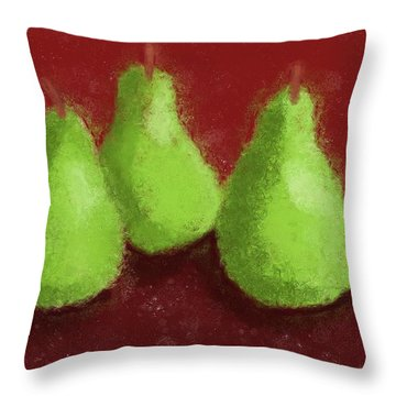 Pear Trio Throw Pillow by Heidi Smith