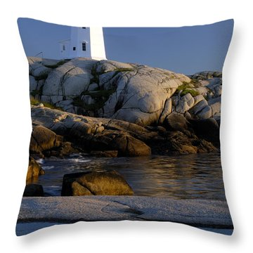 Peggy's Cove Lighthouse Throw Pillow by Norman Pogson