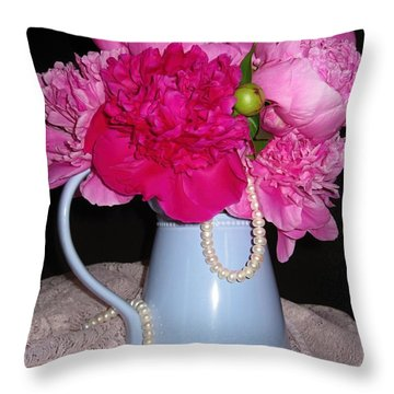 Peonies Pearls And Lace Throw Pillow by Margaret Newcomb