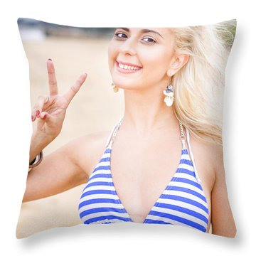 Person With Peace Hand Throw Pillow