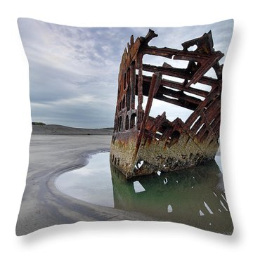 Peter Iredale At Dawn Throw Pillow by David Gn