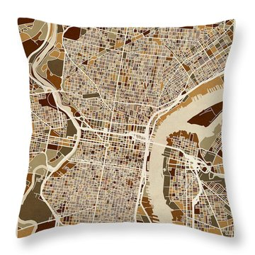 Philadelphia Pennsylvania Street Map Throw Pillow by Michael Tompsett