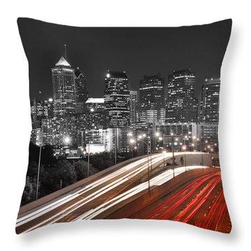 Philadelphia Skyline At Night Black And White Bw  Throw Pillow by Jon Holiday