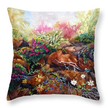 Phlox On The Rocks Throw Pillow by Karen Mattson