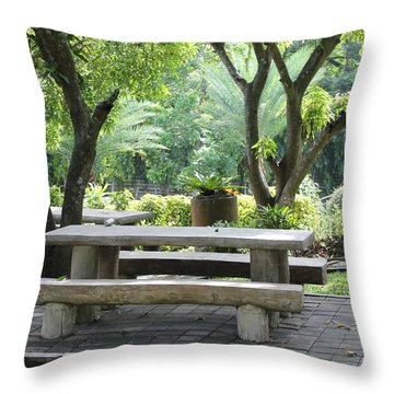 Throw Pillow featuring the photograph Picnic Table by Lorna Maza