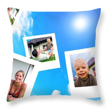 Pictures Of Happy Family Throw Pillow by Michal Bednarek
