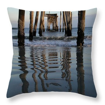 Throw Pillow featuring the photograph Pier Reflections by Keith McGill