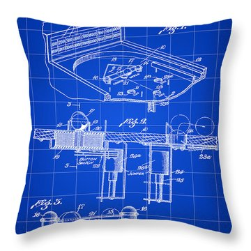 Pinball Machine Patent 1939 - Blue Throw Pillow by Stephen Younts