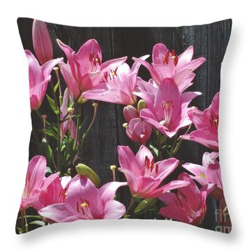 Pink Asiatic Lilies Throw Pillow