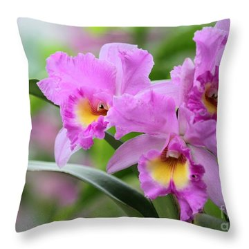 Pink Orchids Throw Pillow