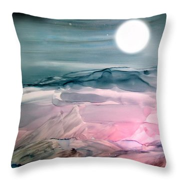 Pink Quartz Island Under The Moon Alcohol Inks Throw Pillow
