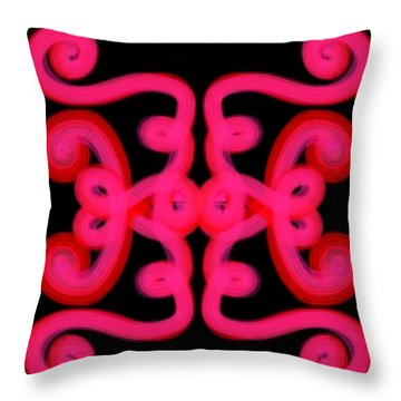 Throw Pillow featuring the digital art Pink Scroll by Christine Fournier