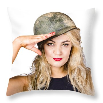 Pinup Beauty Saluting To A Mission Accomplished Throw Pillow
