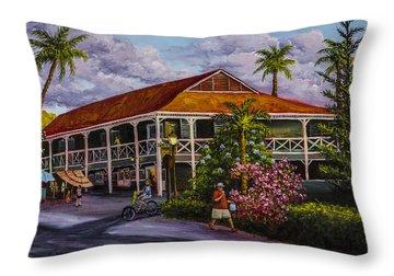 Pioneer Inn Lahaina Throw Pillow by Darice Machel McGuire