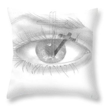 Plank In Eye Throw Pillow