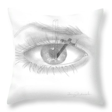 Throw Pillow featuring the drawing Plank In Eye by Terry Frederick
