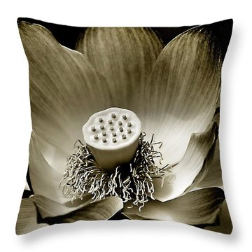 Platinum Lotus Throw Pillow