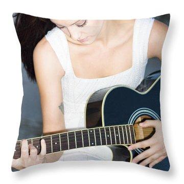 Playing Guitar Throw Pillow
