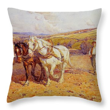 Ploughing Throw Pillow by Joseph Harold Swanwick
