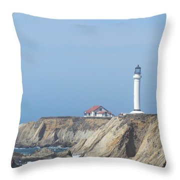Point Arena Lighthouse Throw Pillow by Bonnie Muir