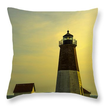 Point Judith Lighthouse Throw Pillow