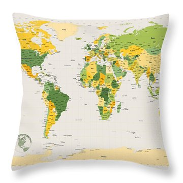 Political Map Of The World Throw Pillow