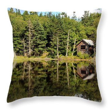 Pond Along The At Throw Pillow