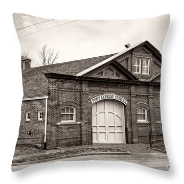 Pony Express Stables Throw Pillow