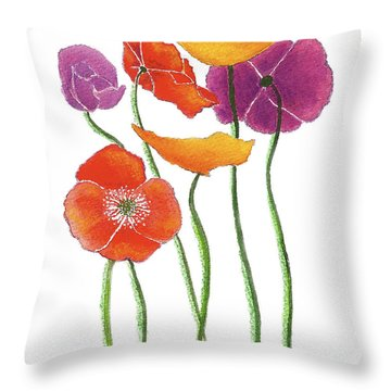 Throw Pillow featuring the painting Poppies A Plenty by Nan Wright