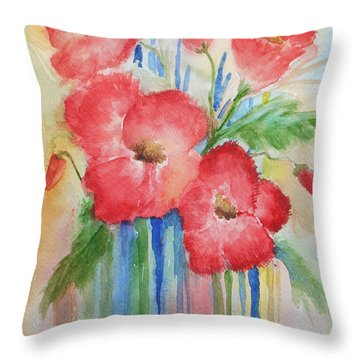 Poppies Throw Pillow by Christine Lathrop