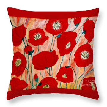 Poppies. Inspirations Collection. Throw Pillow