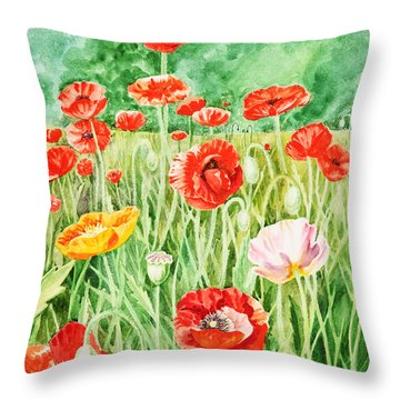 Poppies Throw Pillow by Irina Sztukowski