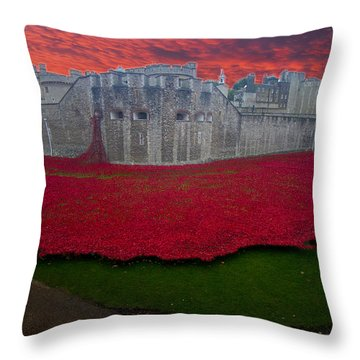 Poppies Tower Of London Throw Pillow