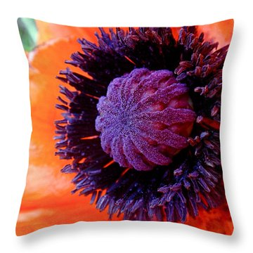 Poppy Throw Pillow by Rona Black