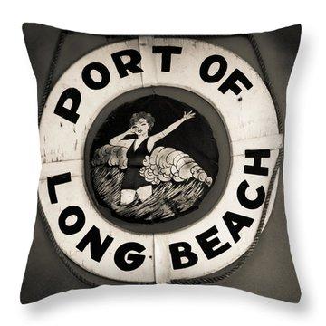 Port Of Long Beach Life Saver Vin By Denise Dube Throw Pillow