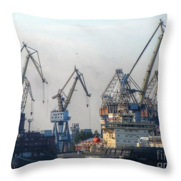 Throw Pillow featuring the pyrography Port by Yury Bashkin