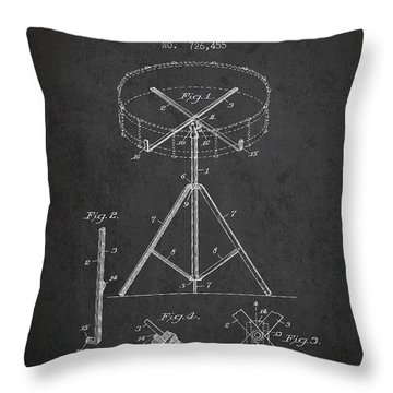 Portable Drum Patent Drawing From 1903 - Dark Throw Pillow
