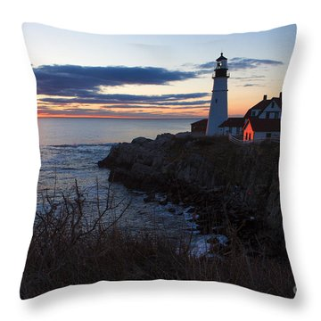 Portland Head Light At Dawn Throw Pillow