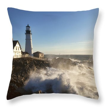 Portland Head Light Throw Pillow by Eric Gendron