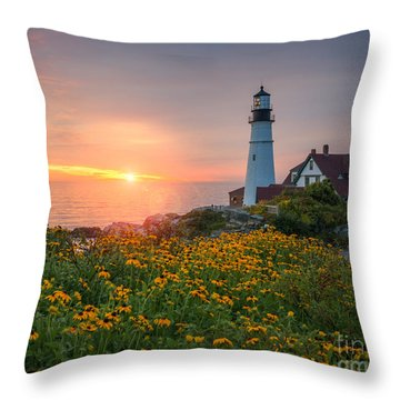 Portland Head Light Sunrise  Throw Pillow