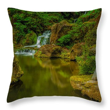 Portland Japanese Gardens Throw Pillow by Jacqui Boonstra