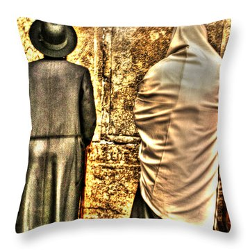 Throw Pillow featuring the photograph Praying At The Western Wall by Doc Braham