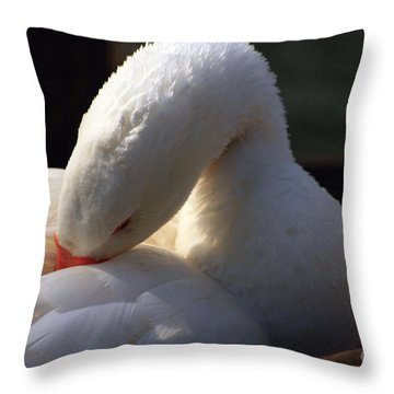 Preening Goose Throw Pillow