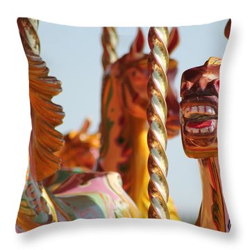 Pretty Carousel Horses Throw Pillow